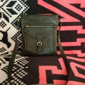 Black Leather Crossbody Bag MultiPocket Purse
